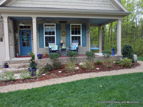 Front Porch Landscaping With Pea Gravel Walkway