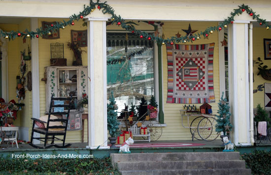 Decorated front porch in Bell Buckle TN