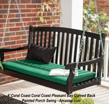 Black Coral Coast Pleasant Bay Porch Swing at Amazon
