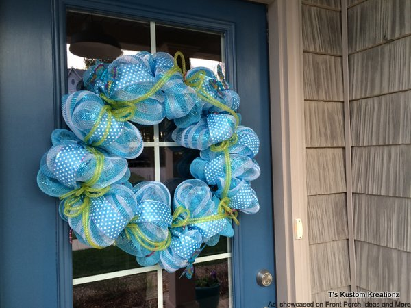 Decorative front door wreath in a cool blue looks quite dandy on our blue front door