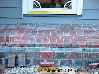 brick decking on porch