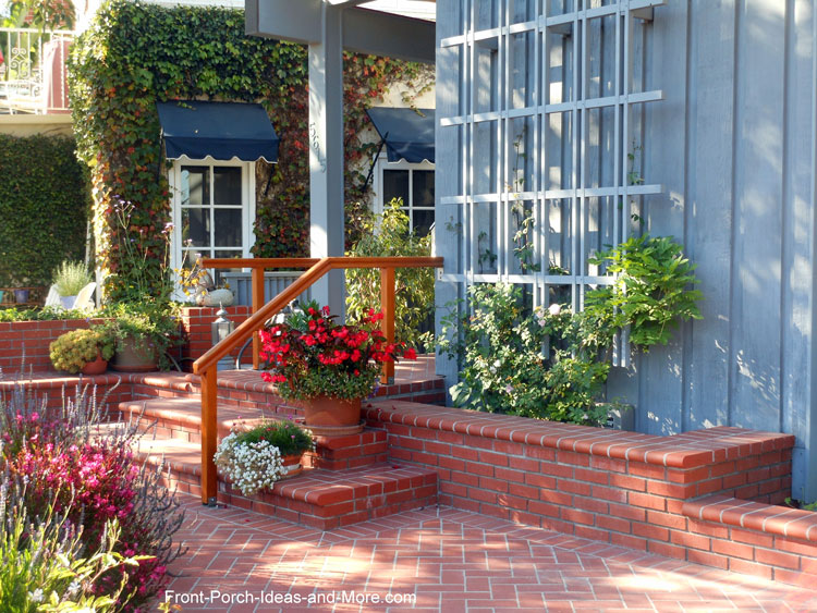 brick front porch steps and patio area