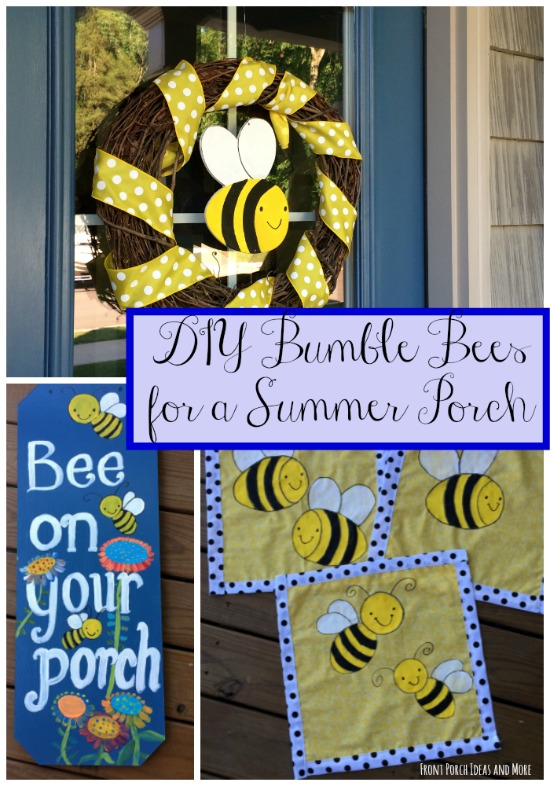 Collage of DIY bumble bee decorations for your porch