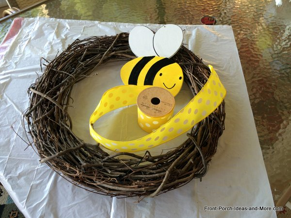 materials you will need for a whimsical bumble bee wreath for the front door