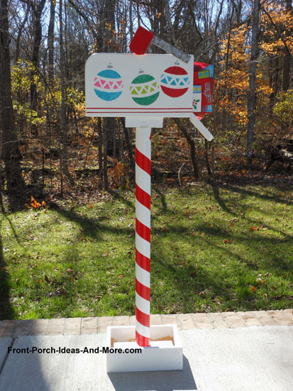mailbox pole wrapped with red duct tape - Christmas Mailbox Decorations Ideas