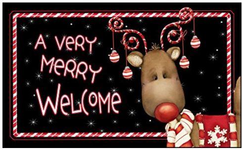 Candy cane reindeer doormat