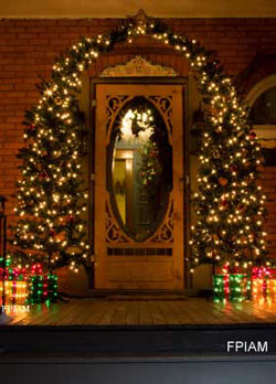Decorated door way with an extravaganza of lights
