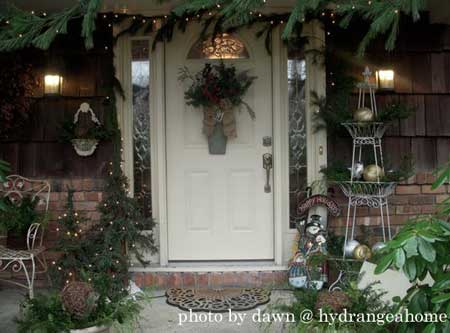 Christmas greenery around the front door