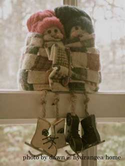 Snowmen on window sill