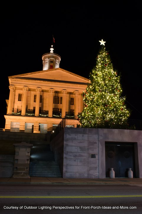 Tennessee capital Christmas tree lights by Outside Lighting Perspectives