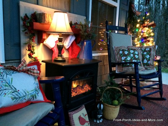 picture of our Christmas porch in the evening