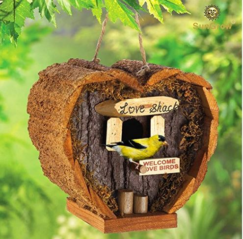 Sweet coconut shell bird house