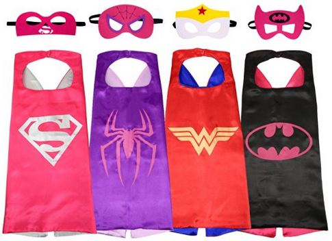Comic dress up kit for girls for Halloween - 4 capes and 4 masks