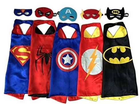 Comic dress up kit for Halloween - 5 capes and 5 masks