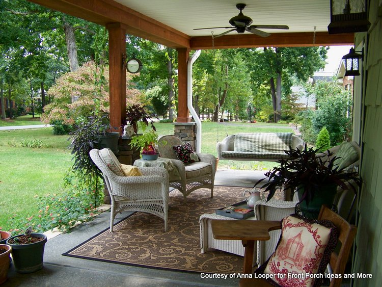Outdoor ceiling fan and comfortable furniture on porch