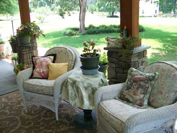 Beautiful cushions on wicker furniture