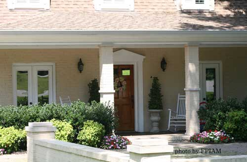 Pediment over door creates extra curb appeal