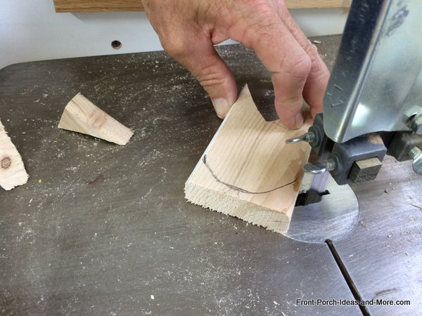 cutting a bumble bee decoration using a band saw