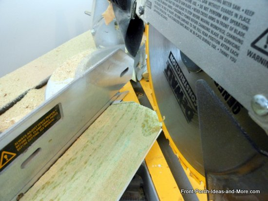 cutting dog ears on fence slats using miter saw