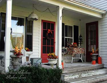 Autumn decorated porch