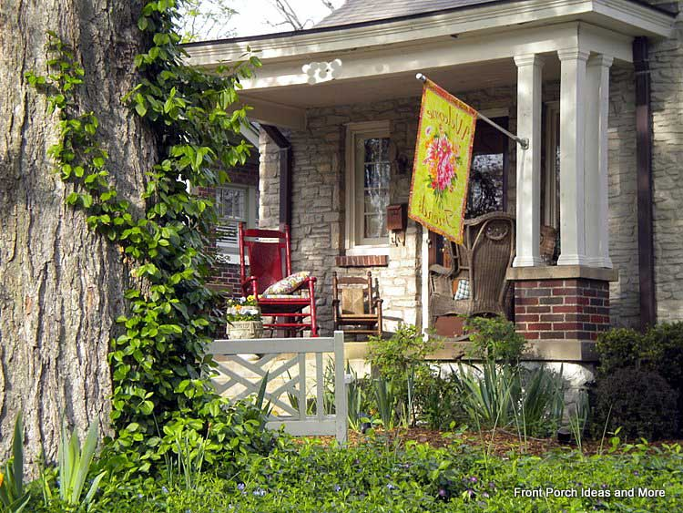 Lovely flag on this stone porch