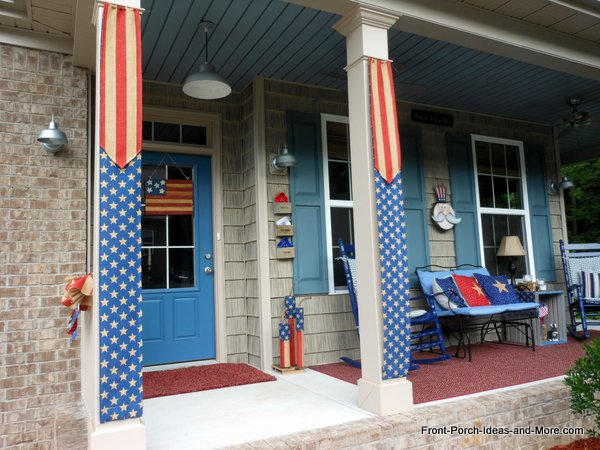 Our patriotic burlap banners are completed and hung on our front porch