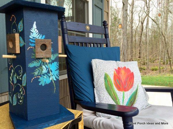 Decorative bird house we made from fence slats