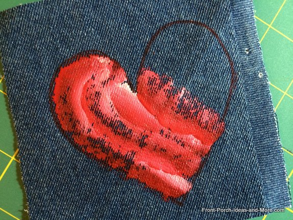 denim heart and paints