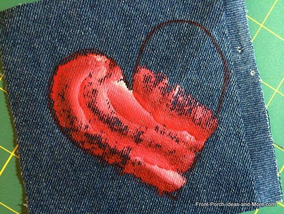 denim heart and paints