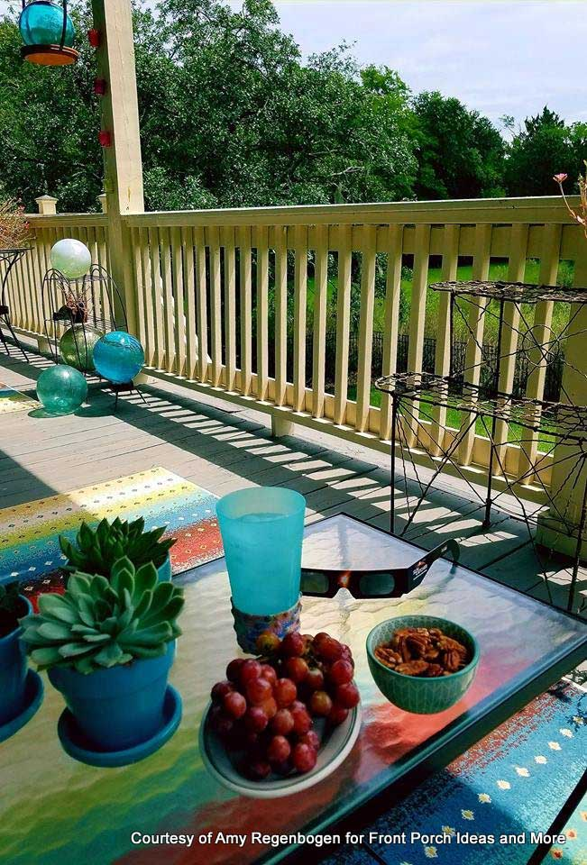 Amy's wonderful porch on day of eclipse