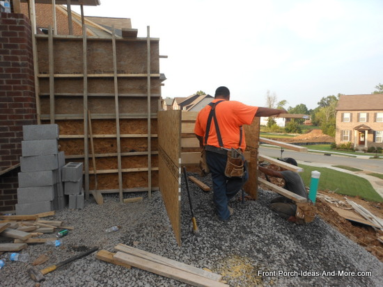 erecting the lower section of forms and risers