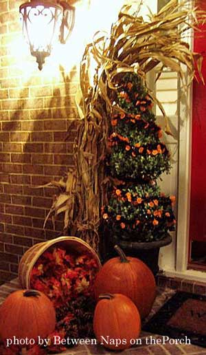 beautiful autumn porch decorated for Thanksgiving