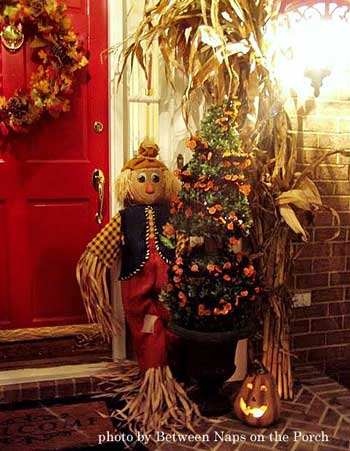 scarecrow, pumpkin, cornstalk autumn display on front porch