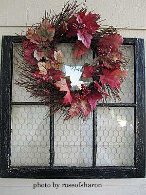 Beautiful Autumn wreath on front door
