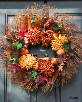 Fall wreath on front door