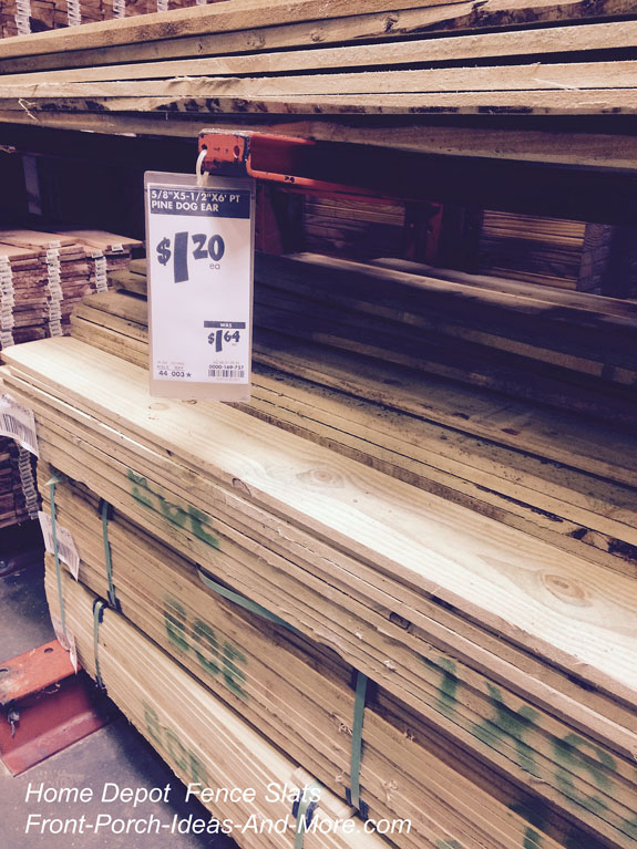 inexpensive fence slats at Home Depot