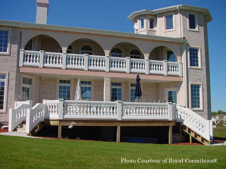 Royal Corinthian® double balustrades on home