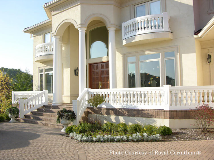 Royal Corinthian® fiberglass balustrade on front porch