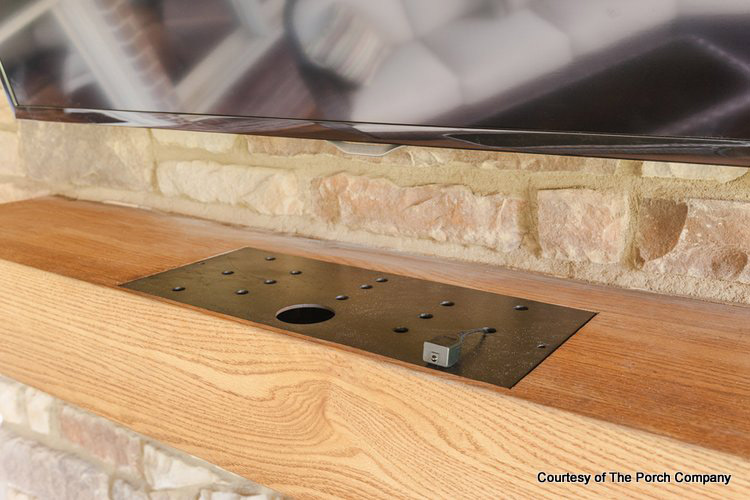 Top of The Porch Company's hollow fireplace mantel allows for air ventilation