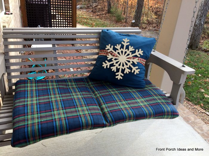 Our porch swing cushion is also covered with snuggly fleece.