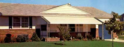 Ranch-style home with aluminum awnings