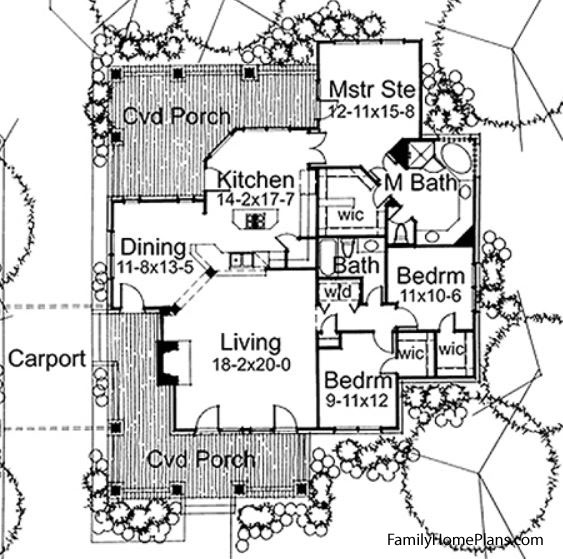 Floor plan with front porch by Family Home Plans