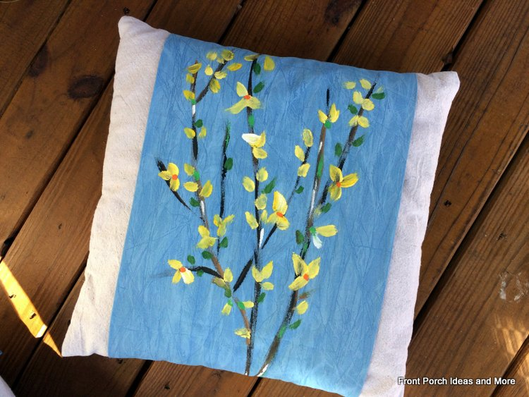 Finished forsythia pillow topper for our spring porch