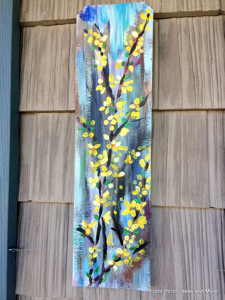 Close-up of forsythia wall art