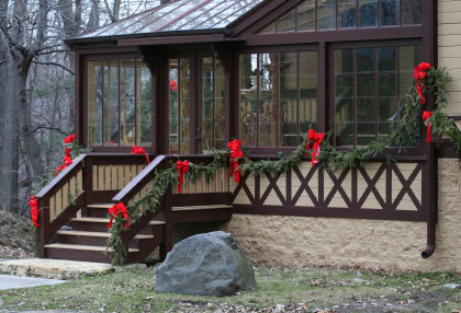 Four season porch decked out for the holidays
