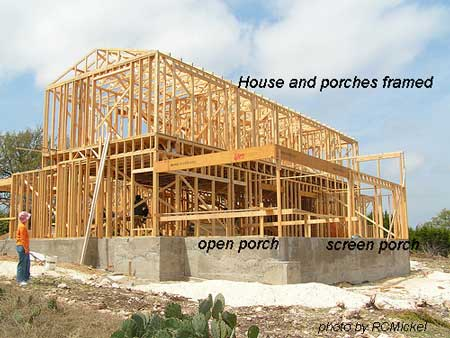 house and porches framed