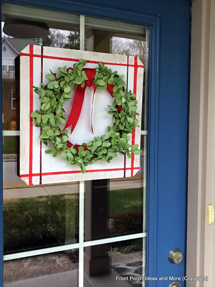 Front door boxwood wreath we made