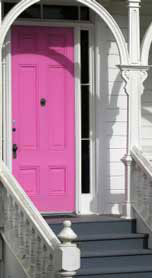 Colorful front porch door