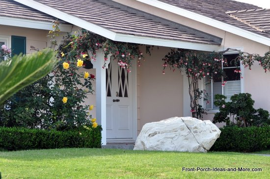 front porch with cascading flowers