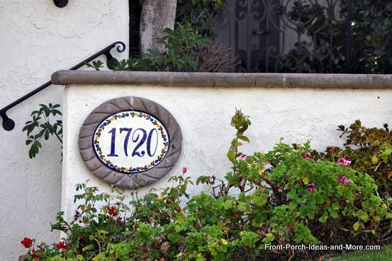 colorful oval front porch house number